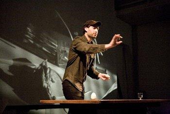 Tris Vonna-Michell, Finding Henri Chopin. Performance still