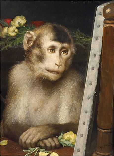 Gabriel von Max monkey viewing painting
