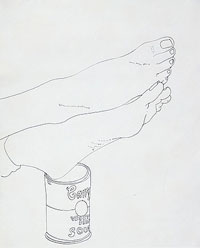 andy-Warhol, feet and campbell soup can 1961