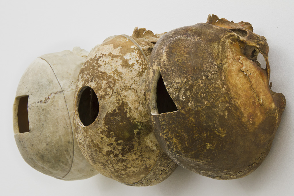 Magnus Wallin Method, detail 2011, 3 human skulls