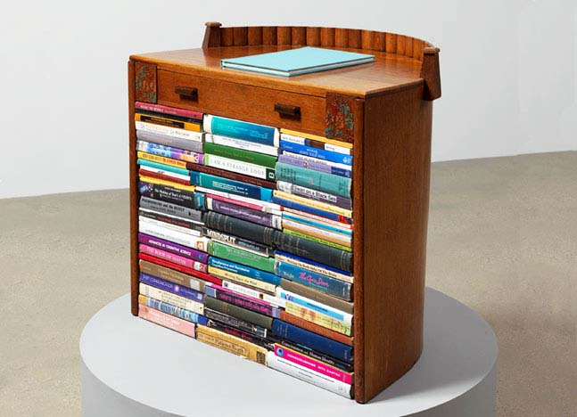 Lucidity & Intuition- Homage to Gertrude Stein,  2011 Art Deco writing desk containing  a collection of modified books on automatism and related issues; with dossier by Susan Hiller