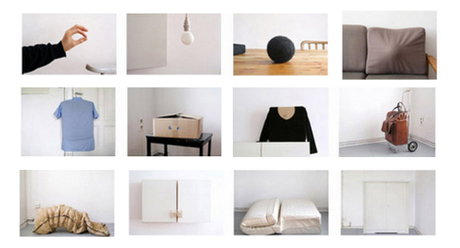 Sofia Hulten, Points in a Room Condensing, (2006) Objects of increasing size are placed inside one another, beginning with a ball bearing (2 x 2 x 2mm) and ending with a cupboard (120 x 110 x 50 cm) which then contains all the objects