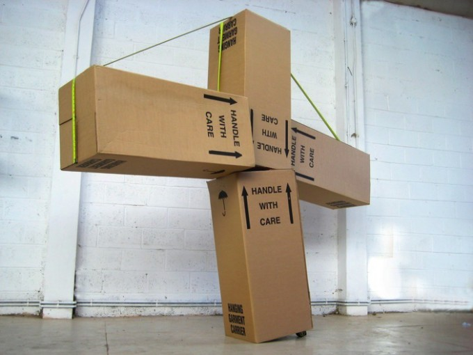 GrahamHudson_Trauma Monument, 2008, 4 x cardboard boxes, 2 x tape measure