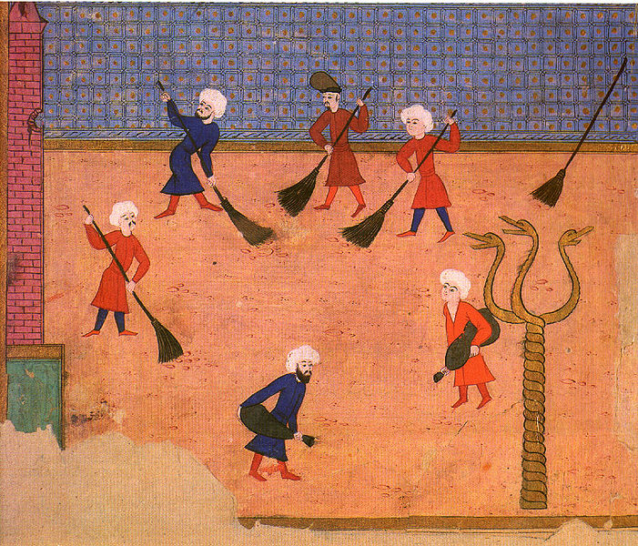 Ottoman miniature from the Surname-i Vehbi, showing the Column with the three serpent heads, in a celebration at the Hippodrome in 1582