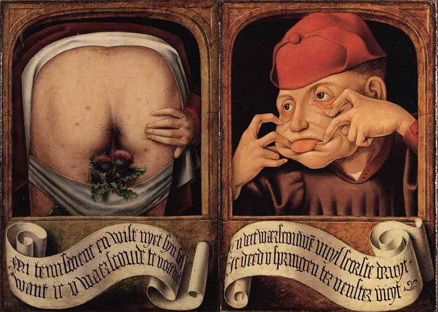 Anonymous-Flemish-artist,-Satirical-Diptych,-early-16th-century_open