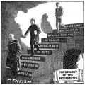 A Fundamentalist cartoon portraying Modernism as the descent from Christianity to atheism, first published in 1922 and then used in Seven Questions in Dispute by William Jennings Bryan