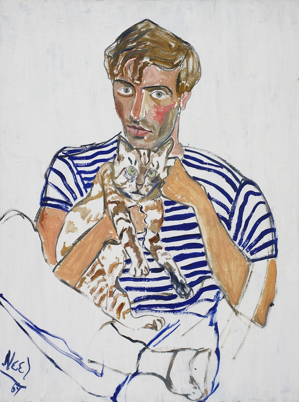 alice-neel_Hartley with a Cat, 1969