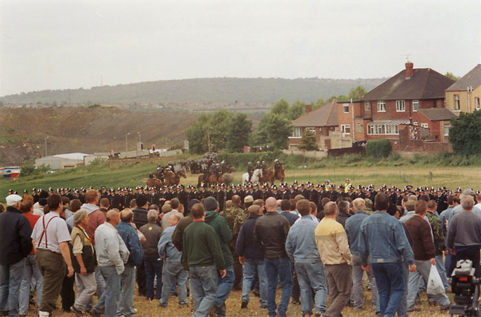 "The Battle of Orgreave"", 2001 by Jeremy Deller. A large scale performance re-enacting a confrontation between the police and striking miners from the 1984–5 miners strike. Video"