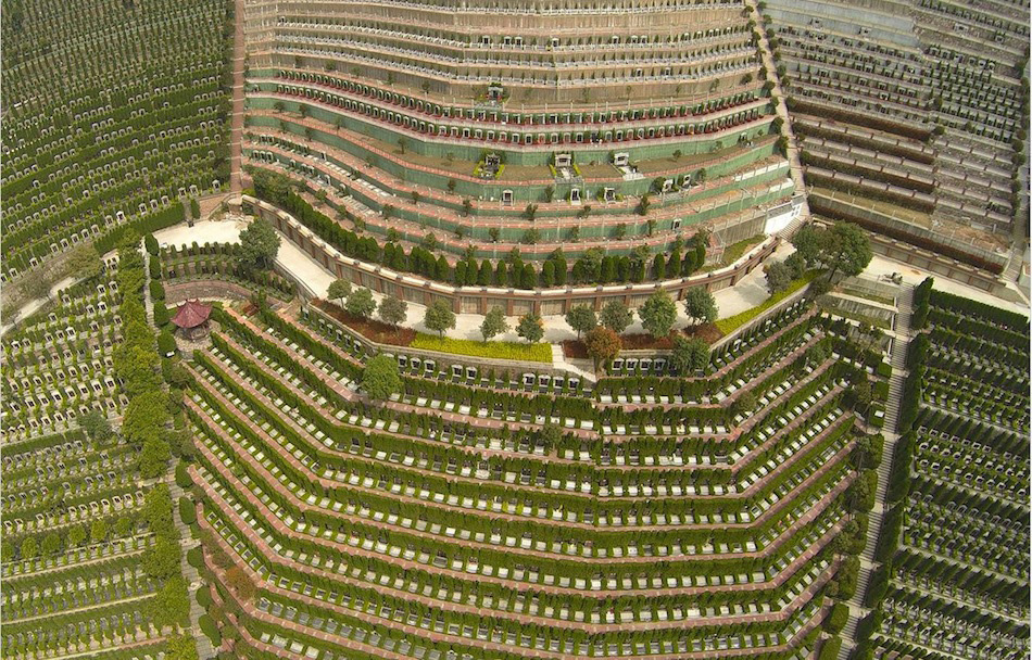 an-aerial-view-of-a-public-cemetery-in-Hangzhou,-Zhejiang-province,-China