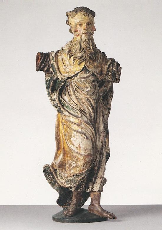 Driegezicht (heilige drie eenheid) De vader, de zoon en de heilige geest. 17e eeuw, lindehout met resten van oude versie, 134cm _ Kolumba_Keulen