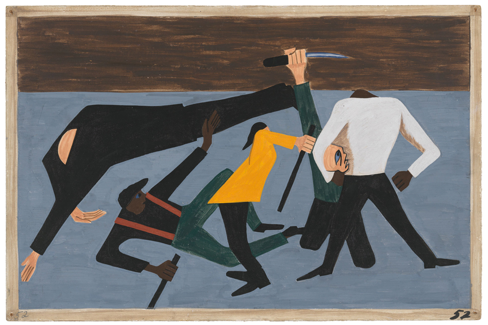 "Jacob Lawrence, ""The Migration Series"" (1940-41), panel 52- ""One of the largest race riots occurred in East St. Louis"" (1941)"