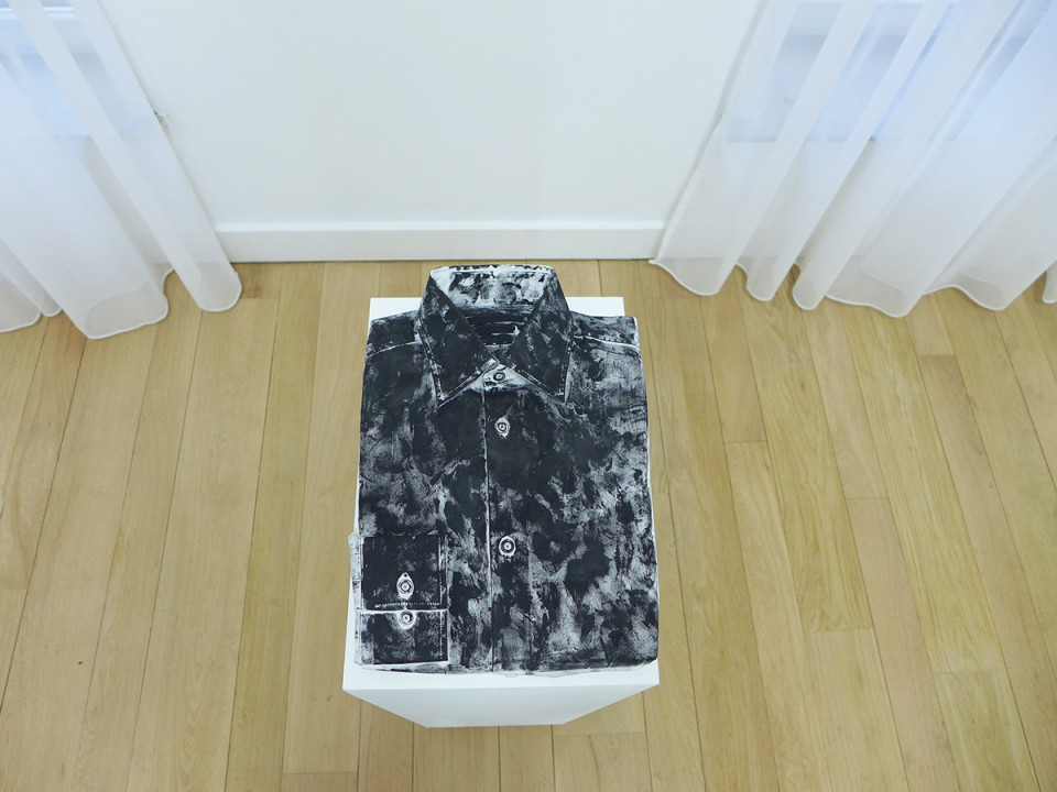 Lili Reynaud-Dewar. Some object blackened (menshirt), 2012, men shirt, make-up